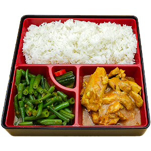 Foto Red curry chicken mini rice table
